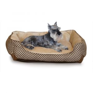 Self Warming Lounge Sleeper Square Pet Bed (Color: Brown, Size: medium)