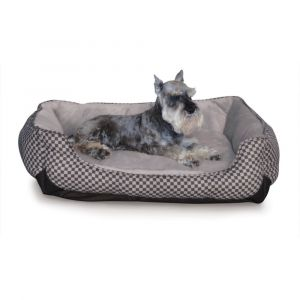 Self Warming Lounge Sleeper Square Pet Bed (Color: Black, Size: medium)