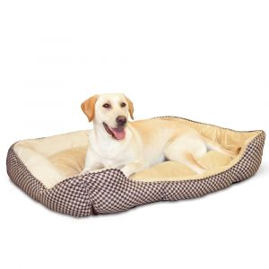 Self Warming Lounge Sleeper Square Pet Bed (Color: Brown, Size: large)
