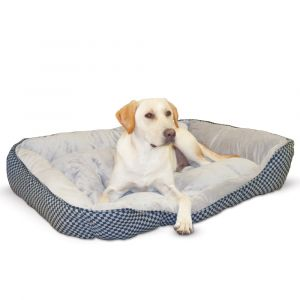 Self Warming Lounge Sleeper Square Pet Bed (Color: Black, Size: large)