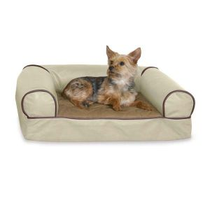 Memory Foam Cozy Sofa Pet Bed (Color: White Chocolate, Size: medium)