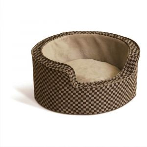 Round Comfy Sleeper Self-Warming Pet Bed (Color: Tan / Brown, Size: small)