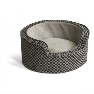 Round Comfy Sleeper Self-Warming Pet Bed (Color: Gray / Black, Size: small)