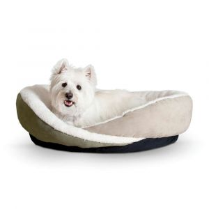 Huggy Nest Pet Bed (Color: Green / Tan, Size: medium)