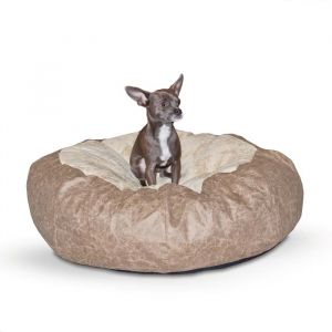Self Warming Cuddle Ball Pet Bed (Color: Tan, Size: small)
