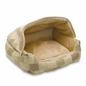 Lounge Sleeper Hooded Pet Bed (Color: Tan)