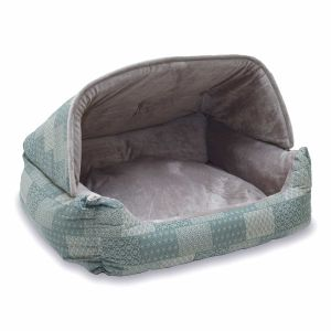 Lounge Sleeper Hooded Pet Bed (Color: Teal)